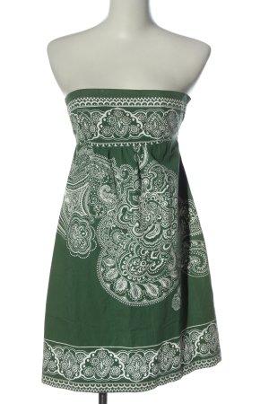 United Colors of Benetton A-Linien Kleid grün-weiß abstraktes Muster