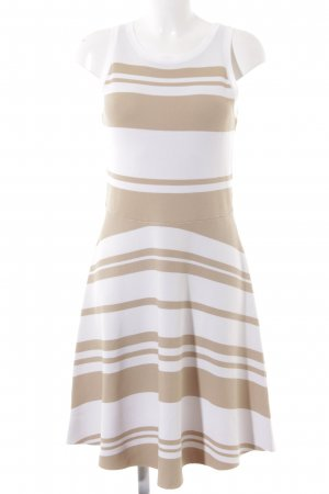 United Colors of Benetton A-Linien Kleid weiß-beige Streifenmuster Casual-Look
