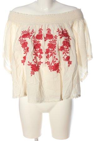 United Colors of Benetton Carmen blouse wolwit-rood geborduurde letters