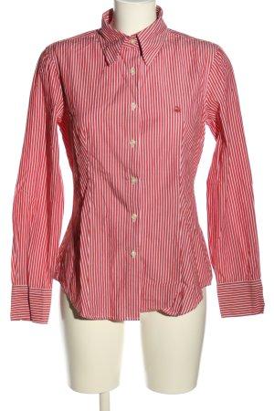 United Colors of Benetton Hemd-Bluse rot-weiß Schriftzug gestickt Casual-Look