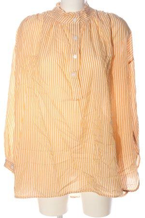 United Colors of Benetton Hemd-Bluse hellorange-weiß Streifenmuster