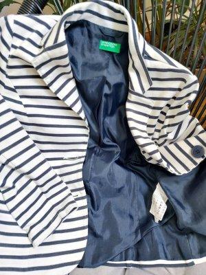 United Colors of Benetton Granatowa kurtka biały-niebieski