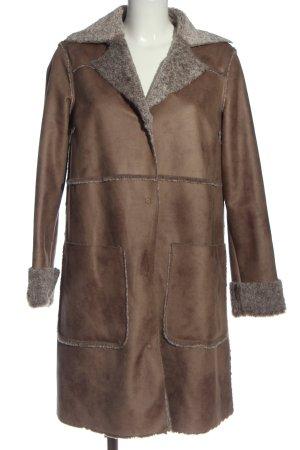 United Colors of Benetton Manteau en fausse fourrure brun style décontracté