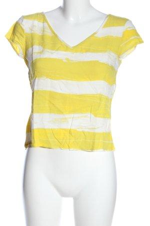 United Colors of Benetton Kurzarm-Bluse blassgelb-weiß Streifenmuster