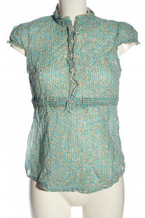 United Colors of Benetton Kurzarm-Bluse türkis-creme Allover-Druck Casual-Look