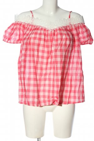 United Colors of Benetton Kurzarm-Bluse pink-weiß Karomuster Casual-Look