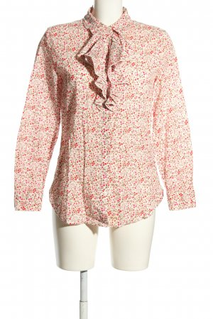 United Colors of Benetton Langarm-Bluse creme-rot Allover-Druck Business-Look