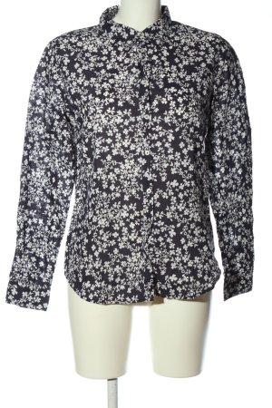 United Colors of Benetton Langarmhemd schwarz-weiß Blumenmuster Casual-Look