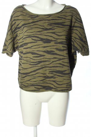 United Colors of Benetton Oversized Bluse khaki-schwarz grafisches Muster
