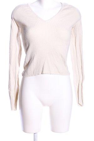 United Colors of Benetton Prążkowana koszulka w kolorze białej wełny
