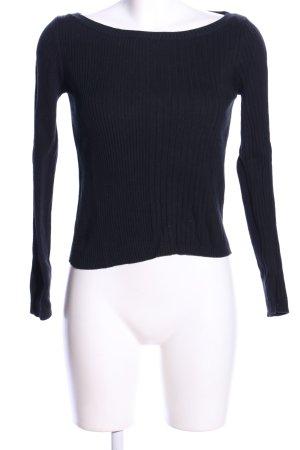United Colors of Benetton Prążkowana koszulka czarny W stylu casual