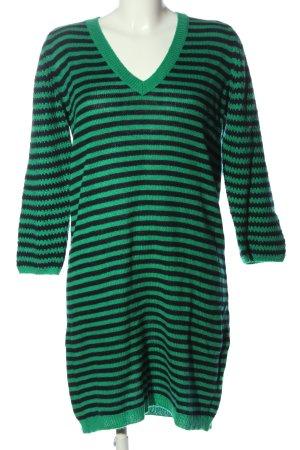 United Colors of Benetton Strickkleid grün-schwarz Streifenmuster Casual-Look