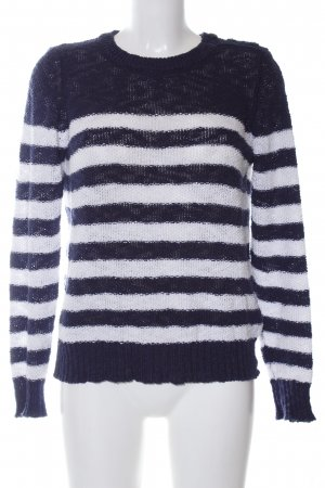 United Colors of Benetton Strickpullover blau-weiß Streifenmuster Casual-Look