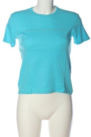 United Colors of Benetton T-Shirt türkis-goldfarben Schriftzug gedruckt