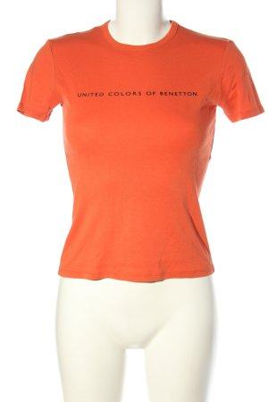 United Colors of Benetton T-Shirt hellorange-schwarz Schriftzug gedruckt