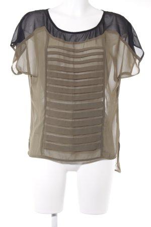 United Colors of Benetton T-Shirt khaki-schwarz Transparenz-Optik
