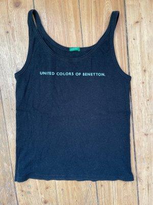 Benetton Camiseta sin mangas negro-azul celeste Algodón