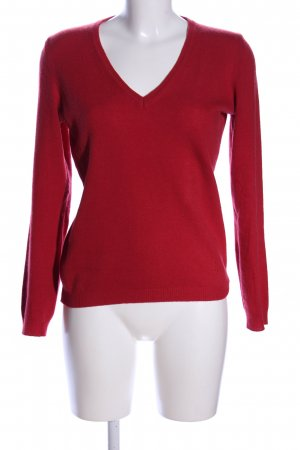 United Colors of Benetton V-Ausschnitt-Pullover rot Casual-Look