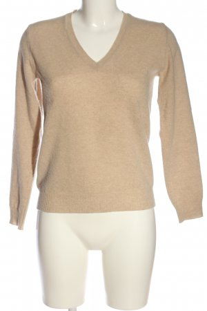 United Colors of Benetton V-Ausschnitt-Pullover creme Casual-Look