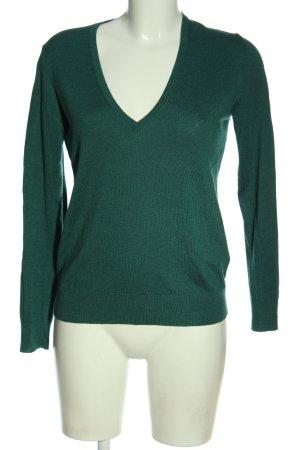 United Colors of Benetton V-Ausschnitt-Pullover grün Casual-Look