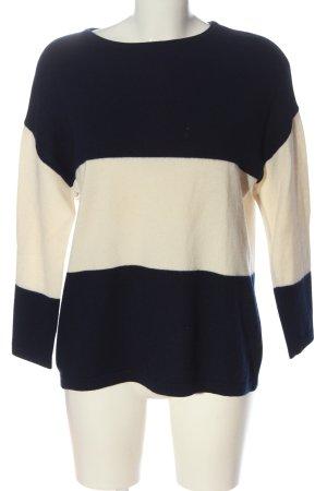 United Colors of Benetton Pull en laine noir-blanc cassé motif rayé