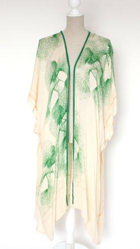 unmade Kimono Kleid Bluse Tunika M L 38 40 42 grün creme floral