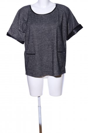 UNQ Kurzarm-Bluse schwarz meliert Casual-Look
