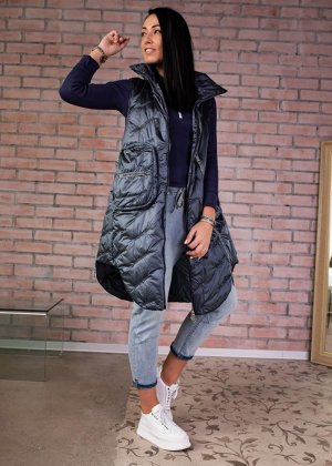 Quilted Gilet dark blue