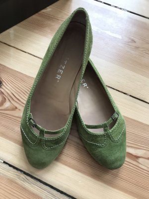 Unützer Ballerina's met bandjes groen Leer