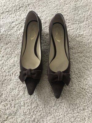 unnützer Pointed Toe Pumps brown-dark brown leather