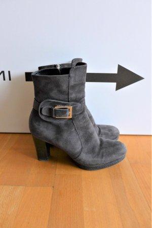 Unützer Schuhe Stiefelette Booties Absatz Leder dunkelgrau taupe Gr. 39