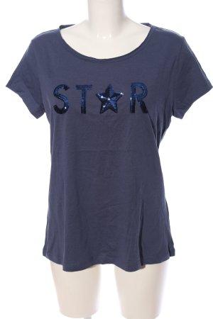 Up2fashion Polo-Shirt blau Schriftzug gedruckt Casual-Look