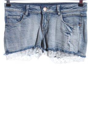 UpFashion Jeansshorts blau-weiß Casual-Look