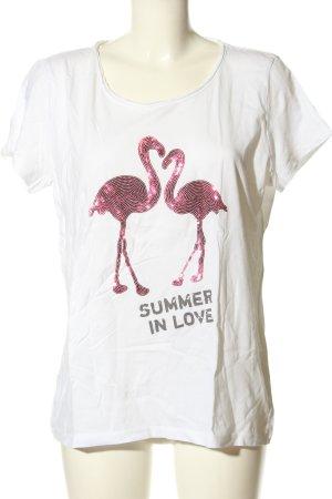 UpFashion T-Shirt weiß-pink Motivdruck Casual-Look