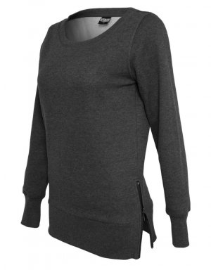Urban Classic Sweatshirt Side Zip Long Crewneck