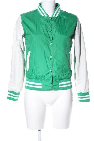 Urban Classics Collegejacke grün-weiß Streifenmuster Casual-Look