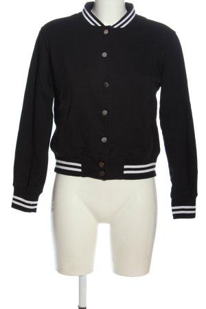 Urban Classics Chaqueta estilo universitario negro-blanco estampado a rayas