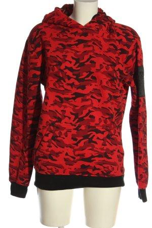 Urban Classics Kapuzensweatshirt rot-schwarz Camouflagemuster Casual-Look