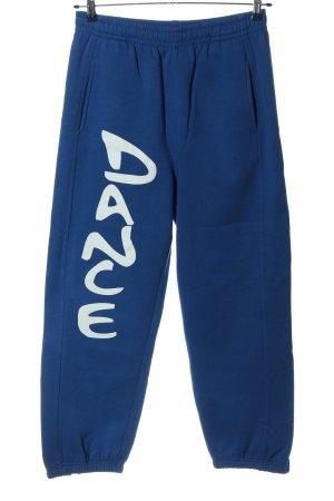 Urban Classics Pantalon de jogging bleu-blanc lettrage imprimé