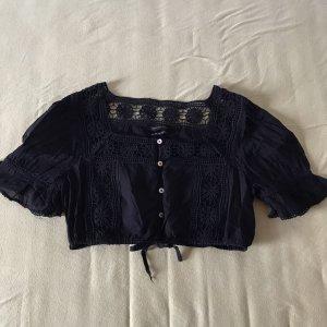 Urban Outfitters Blouse à manches courtes noir coton