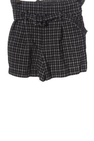 Urban Outfitters Pantalón corto de talle alto negro-blanco estampado a cuadros