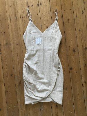 Urban Outfitters Kleid Mini Leinen Nude Beige Wickel Drapiert
