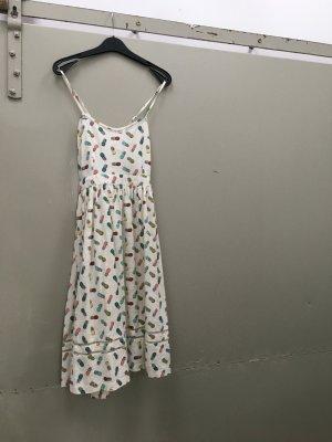 Urban Outfitters Kleid Sommerkleid Gr. 36 S weiß Ananasprint