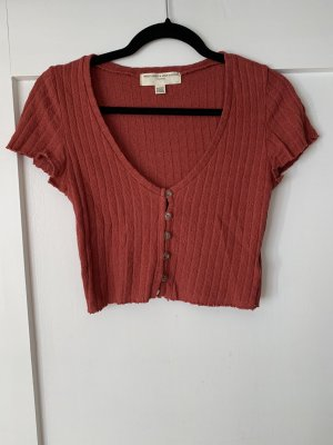 Urban Outfitters Cropped Shirt dark red