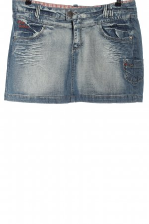 Urban Surface Denim Skirt blue embroidered lettering casual look