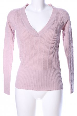 Urban Surface V-Ausschnitt-Pullover pink Zopfmuster Casual-Look