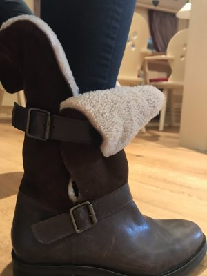 Futrzane buty ciemnobrązowy-beżowy