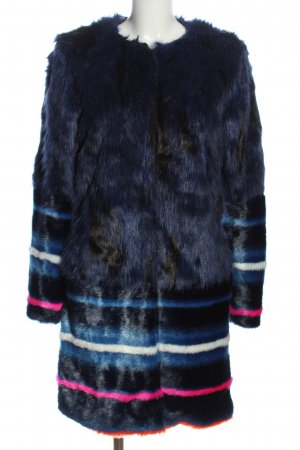 Urbancode Giacca in eco pelliccia blu motivo a righe stile casual