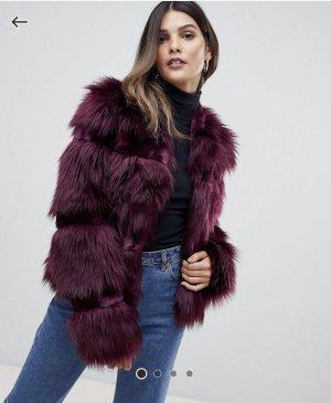 Urbancode Płaszcz ze sztucznym futrem czerwona jeżyna
