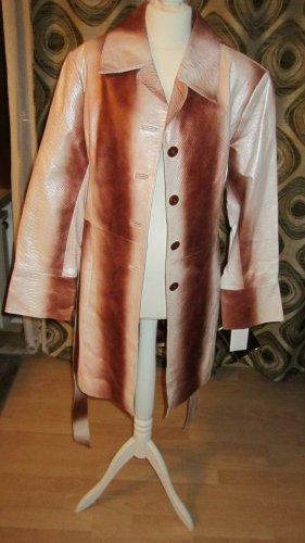 *US-Designer Trenchcoat* Snakeskinprint Rindnappa terrabraun/natur Gr.M